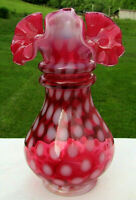 "Fenton Glass Cranberry Opalescent Coin Dot/ Dot Optic Eye Double Ring Vase 6.5""H"