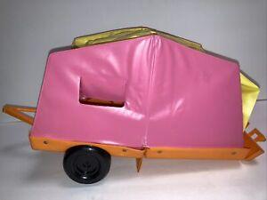 Vintage Mattel 1972 Barbie Pop-Up Tent Camper Pink Yellow Tent Orange w/Hitch