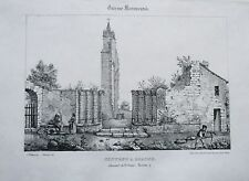 Litografía siglo XIX - Convento en Geaune - Las landas - Aumont - Philippe