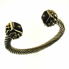 Bali Cable Cuff Bracelet Black Onyx Gold Silver Plated Twisted Balinese