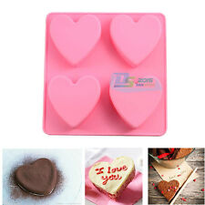 4 Heart Silicone Cake Chocolate Muffin Baking Mould Tin Jelly Pudding Soap Mold