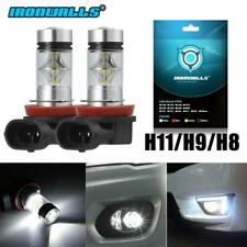 2X H11 H9 H8 CREE 100W LED Projector Fog Driving Light Bulbs 6000K White 4000LM