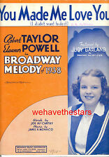 "BROADWAY MELODY 1938 Sheet Music ""You Made Me Love You"" Judy Garland"