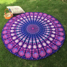 Large Beach Towel Round Picnic Blanket Table Cover Bohemian Yoga Mat Red 150CM