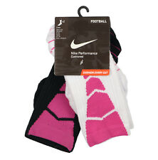 NIKE Youth Vapor Football 2-Pack Crew Socks sz S Small (3Y-5Y) Black White Pink