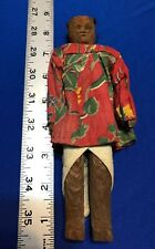 Folk Art Wooden Wood Toy Doll Black Brown Negro Primitive Hand Made Clothes