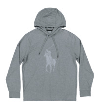 Polo Ralph Lauren Men's Performance Hooded Big Pony T Shirt Gray NWT XXL