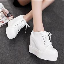 Womens High Top Wedge Hidden Heel Platform Lace Up Athletic Sneakers Shoes Solid