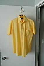 Adolfo Mens Slim Fit Yellow Check Short Sleeve Dress Shirt - SZ 15