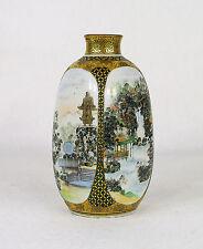 Antique Japanese Satsuma Four Sided Views Porcelain Vase Signed Meiji