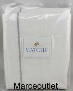 Matouk Bergamo Egyptian Cotton Percale KING Duvet Cover White / Silver
