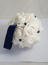 "3"" Navy and Creamy White Kissing Ball, Wedding Decoration Flower  Pomander Ball"