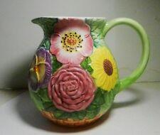 """New listing Seymour Mann Field Garden Flower Pitcher Hand Painted 6 1/2"""" Tall Euc"""