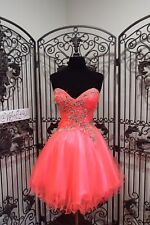 G2130)  ALYCE 3546 HOT CORAL SZ 6   COCKTAIL PROM HOMECOMING GOWN DRESS NEW