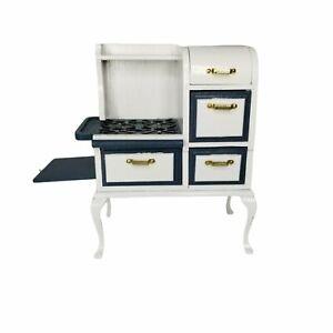 1920s Antique Wood Stove Dollhouse Miniature 1:12 VTG Kitchen Oven Blue & White