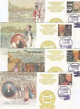 Stamps Australia First fleet ship set of 4 pse with re-enactment overprint