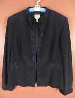 CJ0588- TALBOTS Womens 100% Pure Silk Light Jacket Navy Blue Sequined Plus Sz 20