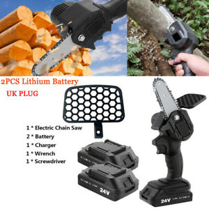 2x Battery Portable Saw Woodworking Electric Chain Saw Wood Cutter Cordless Tool