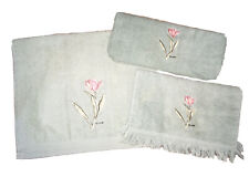 3-piece Embroidered Floral Mint Green Hand Towel Set, PreOwned