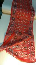 Scarf pure pure silk India vintage unique SILKSCREEN handmade authentic 80s red