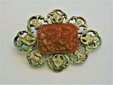pressed red glass Flower brooch J49:) Vintage Hollywood silver pewter tone