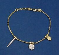 925 Sterling Silver Jewelry CZ Gemstone Women's Gift Gold Plated Bracelet KB1069