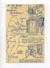 South Egremont MA Mass, map with directions to Tavern, drawings, vintage card