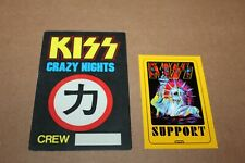 KISS  - 2 x Backstage Pass / Crew Pass - Crazy Nights Tour -  FREE SHIPPING