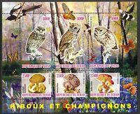 Chad 2010 Birds Owls & Mushrooms I Flowers Butterflies Sh of 6 MNH** Privat !