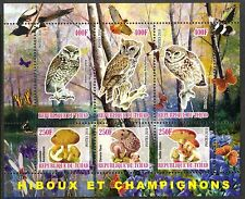 Chad 2010 Birds Owls & Mushrooms I Flowers Butterflies Sh of 6 MNH** Privat !