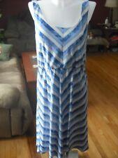 STRIPED KNIT DRESS BY A NGIE SZ L BLUE/WHITE NWT