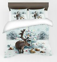 3D Santa Claus Father Christmas Tree Reindeer Stag Quilt Duvet Cover Bedding Set