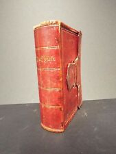 1871 Full Red Leather Bible with Fore-Edge Painting - Jesus Teaching Disciples
