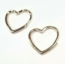 AUTHENTIC PANDORA ROSE™ EARRINGS ASYMMETRICAL HEART HOOPS #288307 8482