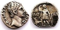 Roma-Augusto. Denario 11-10 a.C. Lugdunum (Galia). Plata 3,7 g. Rara