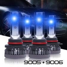 4PCS Combo 9005 9006 Ice Blue 8000K COB LED Headlight Kit Bulbs High Low Beam