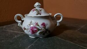 Rose Pattern Sugar Bowl with Lid~~ Moss Rose Like Pattern Unmarked