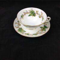 "Vintage Minton Bone China ""Lothian"" Tea Cup & Saucer Wreath Back-stamp - Mint"