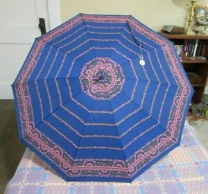 Vintage 1960's umbrella. Hot pink, blue and purple paisley