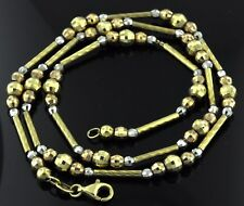 18.10 grams 18k 3 tone gold bead necklace 18 inches  pre owned lobster clasp
