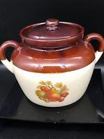 McCoy Pottery 342 Bean Pot Brown Drip Fruit Pattern Ovenproof Vtg Double Handle