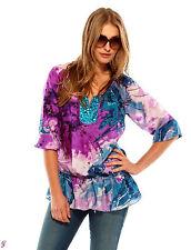 Seiden Tunika Shirt Top Bluse Pailletten, lila bunt Gr. 40 NEU SALE Sommer *037*