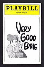 "Travis Hudson ""VERY GOOD EDDIE"" Benny Baker / Jerome Kern 1976 Boston Playbill"