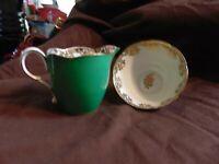 Vintage Paragon Fine Bone China Green Open Sugar Bowl & Creamer Pitcher
