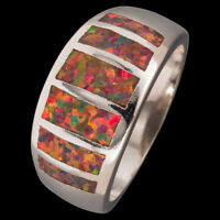 Simple Mexican Brown Fire Opal Silver Jewelry Wide Band Ring US Size 7 8 9