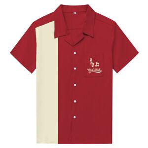 Men Shirt Short Sleeve Rock N Roll Embroidered Rockabilly Bowling Casual Shirts