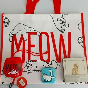 simon's cat shopping bag foldable bag compact mirror cat coasters gift bundle