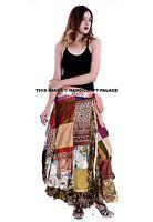 Indien Femme Ethnique Patchwork Rapron Coton Imprimé Jupe Longue Enroulé Jupe