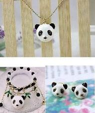 NEW Betsey Johnson Fashioni long panda head necklace bracelet earrings suit