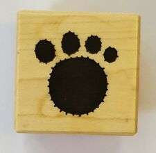 Wood Backed Rubber Stamp Paw Print Dog Cat PSX